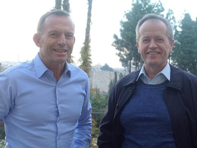 Unlikely duo .. Tony Abbott and Bill Shorten are overseas together. Picture: Supplied