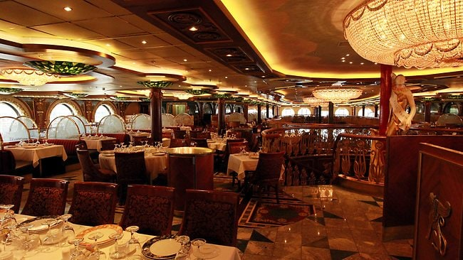 The main dining room of the Carnival Spirt, which will call Sydney its home port. Picture: Tim Hunter