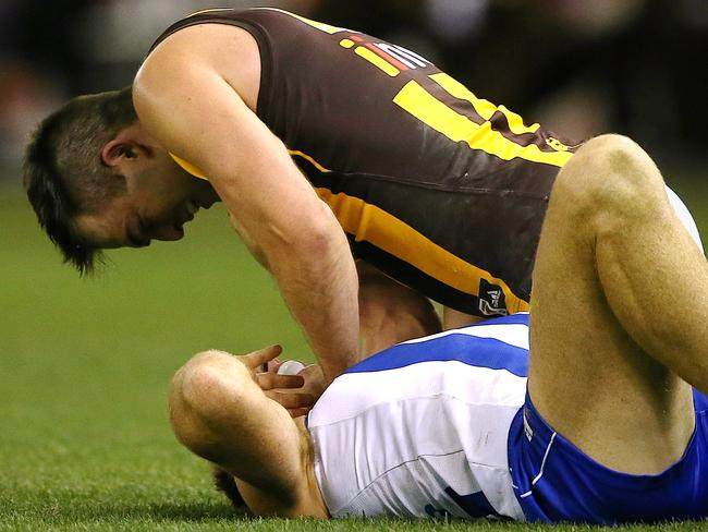 Brian Lake applies force to Drew Petrie's neck in Round 16. Picture: Wayne Ludbey