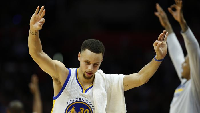 Stephen Curry of the Golden State Warriors celebrates during the second half of a game against the Los Angeles Clippers at Staples Center.