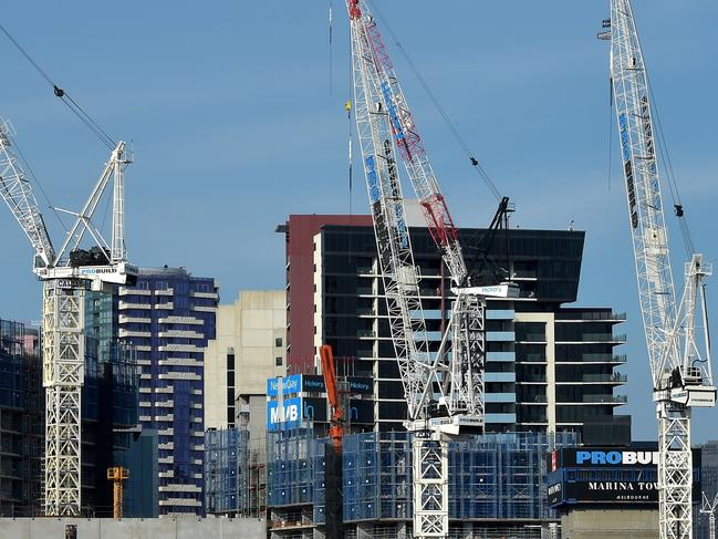 Cranes over buildings in the Docklands. Picture: Jay Town