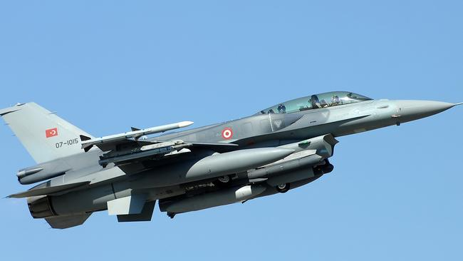 Fighting Falcon ... Turkish-built versions of the famous F-16 are responsible for the shooting down of a Russian ground-attack jet on the border with Syria earlier this week.