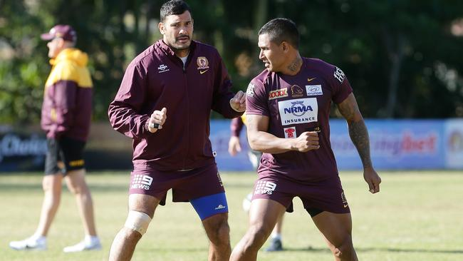Justin Hodges and Ben Barba being put through their paces. Pic Peter Wallis