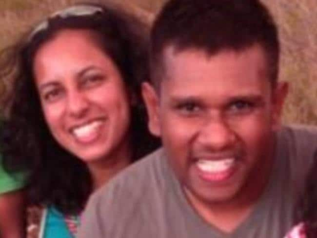 Chamari Liyanage (left) has been charged with murdering her husband Dinendra Athukorala (right).
