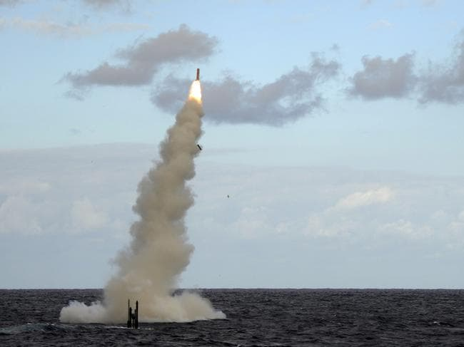 The Royal Navy Attack submarine HMS Astute fires a Tomahawk cruise missile during a testing mission. The 5.5-metre-long cruise missile weighs 1,300kg and has a range of more than 1600km. Picture: Royal Navy