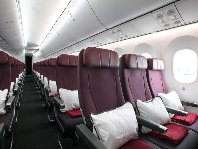 Inside the economy cabin on the Dreamliner. Picture: AAP/Qantas, Brent Winstone