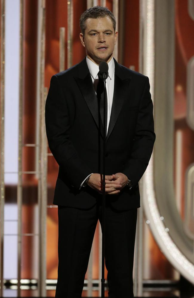 "Matt Damon introduces the film ""The Martian,"" nominated for best comedy film at the 73rd Annual Golden Globe Awards on Sunday, Jan. 10, 2016, at the Beverly Hilton Hotel in Beverly Hills, Calif. (Paul Drinkwater/NBC via AP)"