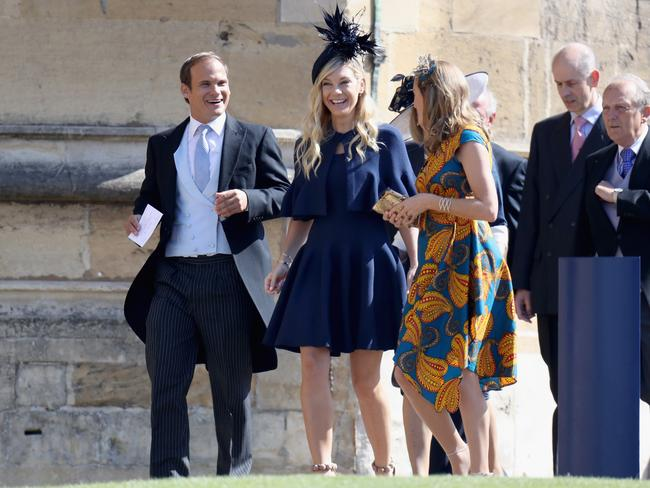 Chelsy Davy (C) arrives at the wedding of Prince Harry to Meghan Markle. Picture: Chris Jackson/Getty Images