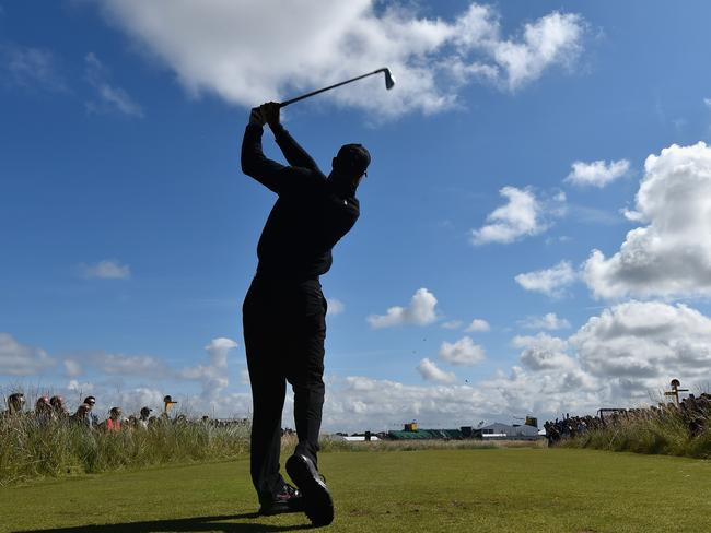 Tiger Woods of the United States tees off during a practice round in Hoylake, England.