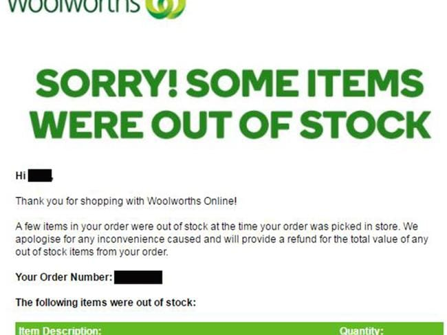 Woolies email will break hearts