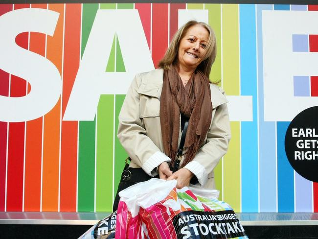 Shopper Debra Pinnell at the winter sales outside Myer in Bourke Street Mall, Melbourne. Shoppers have been spending more than expected.