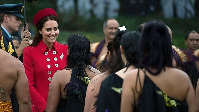 Catherine, the Duchess of Cambridge, meets a Maori performance group during a welcoming c