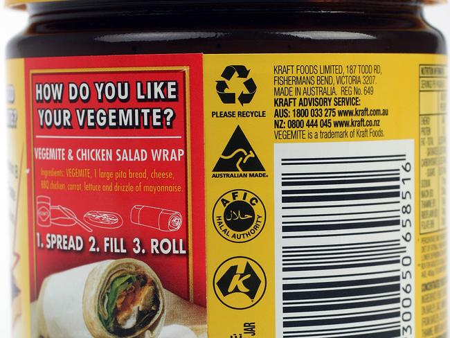 Big brands such as Vegemite are halal compliant.