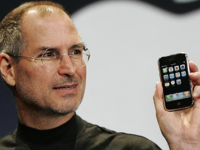 Seventh anniversary ... The late Apple CEO Steve Jobs demonstrates the new iPhone at MacWorld Conference & Expo on January 9, 2007.