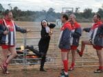 A Naughty Nun meets team Ken at Nanua Racecourse. Photo Naomi Jellicoe