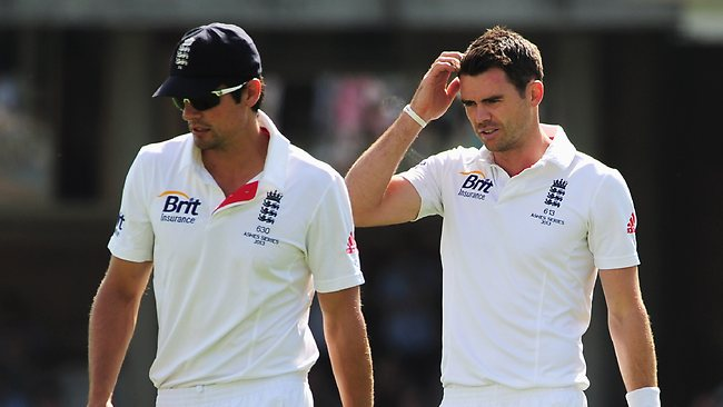 James Anderson (R) and captain Alastair Cook struggling for ideas.