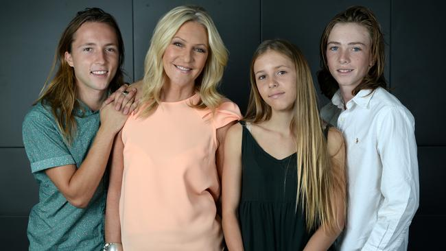Channel 9 newsreader Jo Hall with her kids L to R Tysyn, 22 and 14 year old twins Emmerson and Fynn. Story