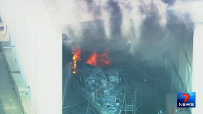 HMAS Bundaberg up in flames. Pic: Channel 7/Twitter