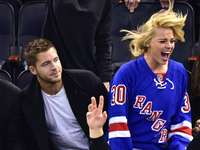 Lovers ... Tom Ackerley and Margot Robbie attend the Arizona Coyotes vs. New York Rangers game at Madison Square Garden on February 26, 2015 in New York City. Picture: Supplied