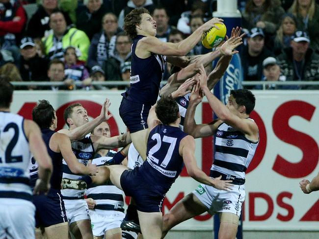 Nat Fyfe took this ripping mark on his way to two goals from 25 touches. Picture: Colleen Petch.