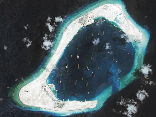 An aerial shot of Subi Reef in the disputed Spratly Islands, where China has constructed a satellite communications centre, a helipad and a lighthouse on reclaimed land.