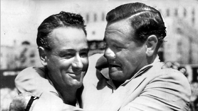 Lou Gehrig (left) and Babe Ruth reunited at Yankee Stadium in 1939. Both were members of the New York Yankees team that won the 1927 World Series.