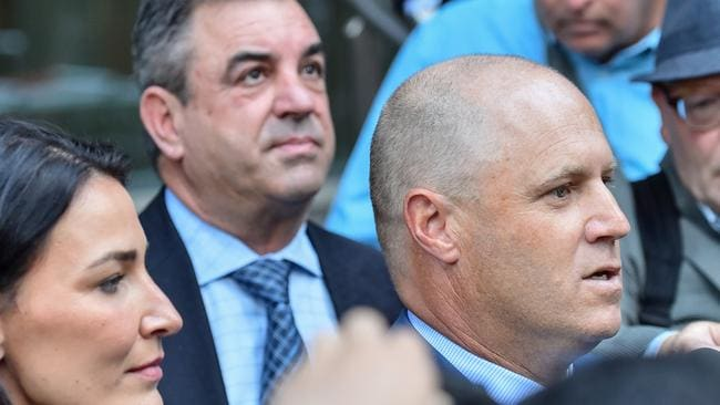 Trainers Danny O'Brien (right) and Mark Kavanagh outside the VCAT offices after their successful appeal against suspensions for using cobalt. Picture: Getty Images
