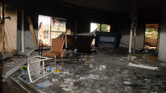 Glass, debris and overturned furniture are strewn inside a room in the gutted US consulate in Benghazi, Libya, after an attack that killed four Americans, including Ambassador Chris Stevens. The American ambassador to Libya and three other Americans were killed when a mob of protesters and gunmen overwhelmed the U.S. Consulate in Benghazi, setting fire to it in outrage over a film that ridicules Islam's Prophet Muhammad. Ambassador Chris Stevens, 52, died as he and a group of embassy employees went to the consulate to try to evacuate staff. AP / Ibrahim Alaguri