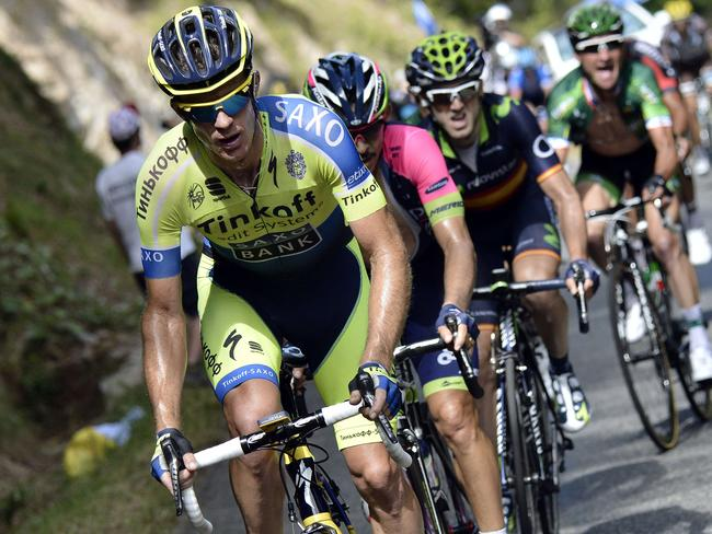 Australia's Michael Rogers, Colombia's Jose Rodolfo Serpa, Spain's Imanol Erviti Ollo and France's Cyril Gautier ride in a breakaway during the 237.5 km sixteenth stage of the Tour de France.