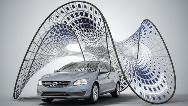 """The """"PURE Tension"""" Volvo Pavilion is a lightweight, rapidly deployable, freestanding tensioned membrane structure and portable charging station, commissioned by Volvo Car Italia to showcase the new Volvo V60 Hybrid Electric Diesel car. Picture: Synthesis Design + Architecture"""
