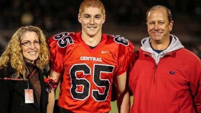 Tim Piazza, pictured with his parents Evelyn and Jim, died a long slow painful death after a frat house hazing ritual during which his 'brothers' allegedly declined to help him.