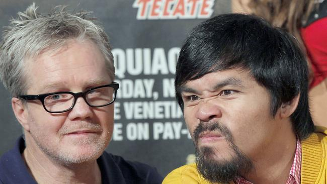 Trainer Freddie Roach with boxing superstar Manny Pacquiao.