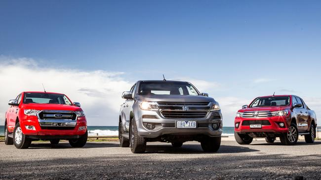 Deals on the Ford Ranger, left, aren't as sharp as the Holden Colorado (centre) and Toyota HiLux (right) but it's still worth a look. Picture: Thomas Wielecki.