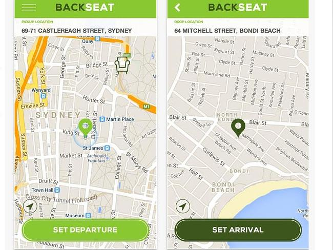 The new app Backseat, which plans to take on Uber and taxis.