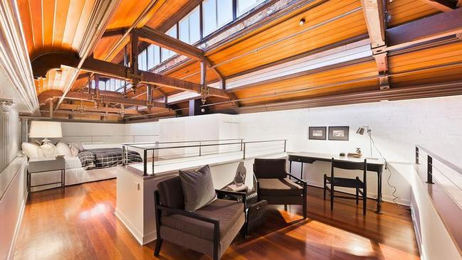 The incredible roof in the apartment at 10/79 Oxford St, Collingwood.