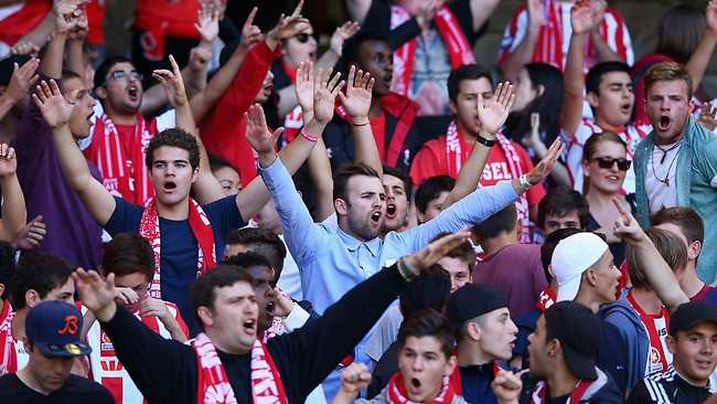 Heart fans cheer for their team at Etihad Stadium. Picture: Robert Cianflone