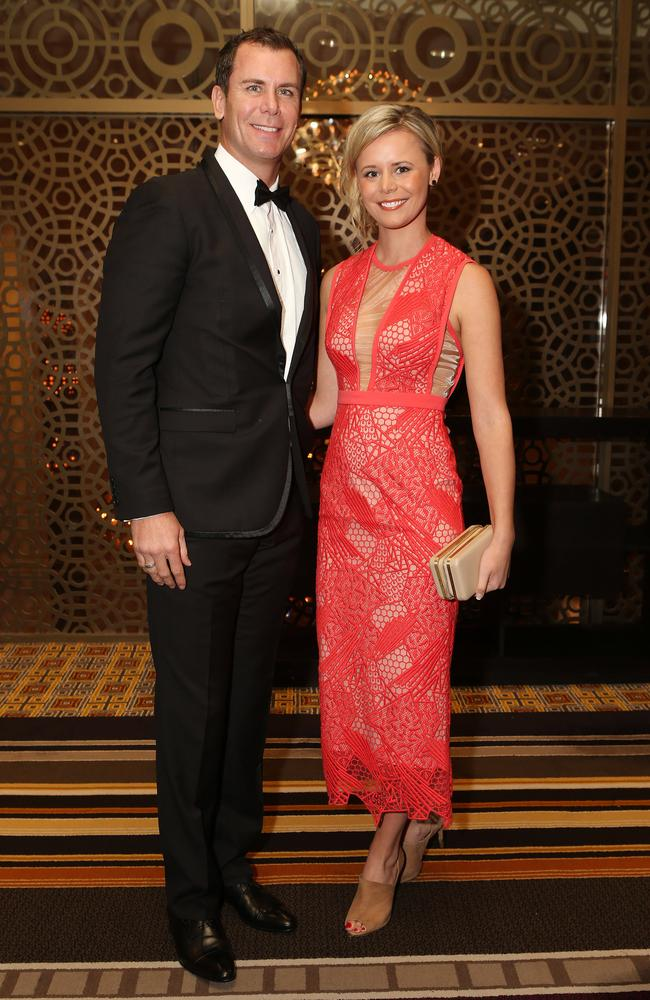 Wayne Carey with Stephanie Edwards at the AFL Hall of Fame dinner. Picture: Julie Kiriacoudis