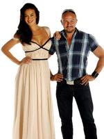 <p>Model Megan Gale poses in dress with designer Alex Perry ahead of photoshoot for the 70th anniversary of The Sunday Telegraph at News Limited studio, Surry Hills in Sydney.</p>