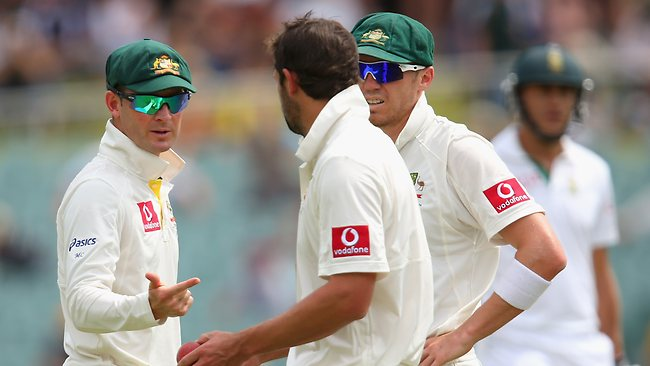 Australian skipper Michael Clarke with exhausted pace duo Ben Hilfenhaus and Peter Siddle.