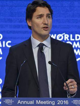 Canada's Prime Minister Justin Trudeau speaks at the WEF in Davos. Picture: AP Photo/Michel Euler