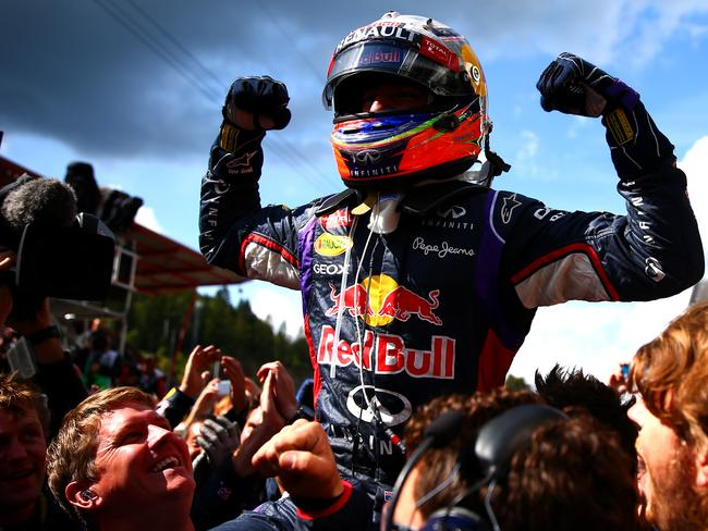 Daniel Ricciardo of Australia after his brilliant win in Belgium.