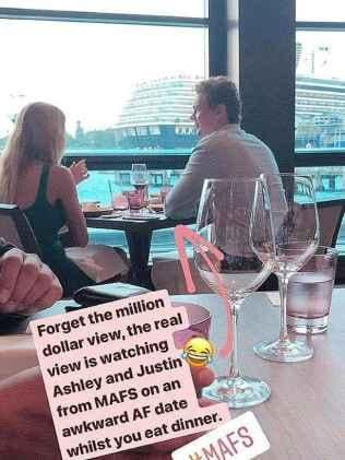Ashley and Justin enjoy their dinner.Source:Instagram