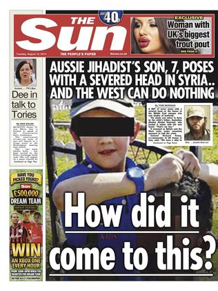 Page 1 of The Sun, August 12, 2014 showing the son of Khaled Sharrouf holding a severed head in Syria.