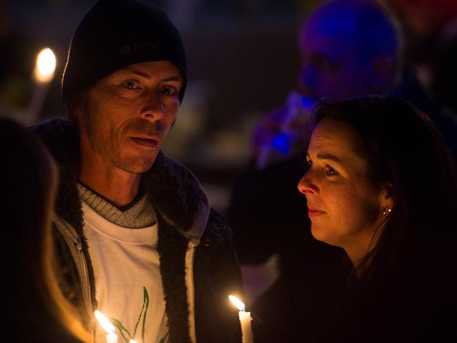 Murdered sex worker Tracy Connelly's long term boyfriend Tony Melissovas (left) attends a candlelight vigil in Greeves Street, St Kilda in 2012. Picture: Herald Sun