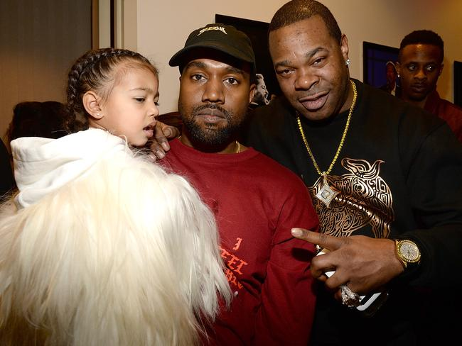 North West, Kanye West and Busta Rhymes. Picture: Getty Images