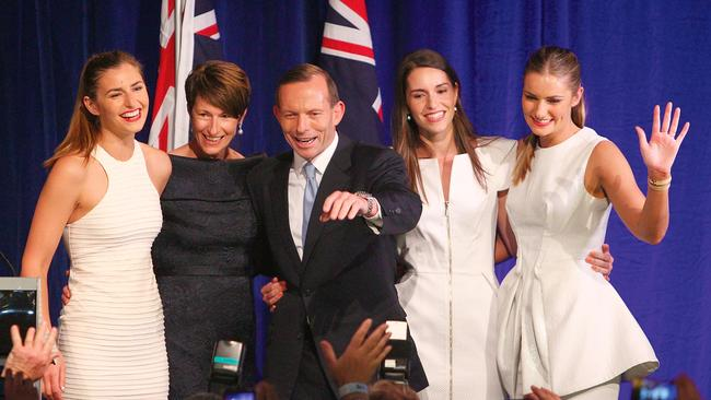 Former PM Tony Abbott and his family, from left, Frances, wife Margaret, Louise and Bridget during his victory speech after the 2013 federal election. Picture: Marianna Massey