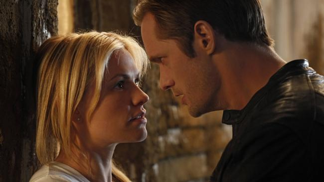 Anna Paquin and Alexander Skarsgard in a scene from True Blood. Picture: AP