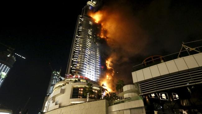 A cladding fire engulfs The Address Hotel in downtown Dubai in the UAE on December 31, 2015. Picture: Reuters/Ahmed Jadallah