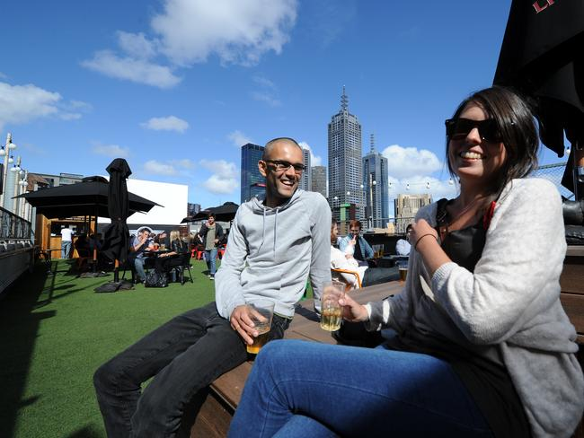 James Davies and Melissa Kelly from West Australia at Cookie rooftop bar.