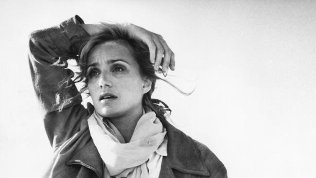 "British actor Kristin Scott Thomas in scene from film ""The English Patient"" — one of the most horrific movies of all time."